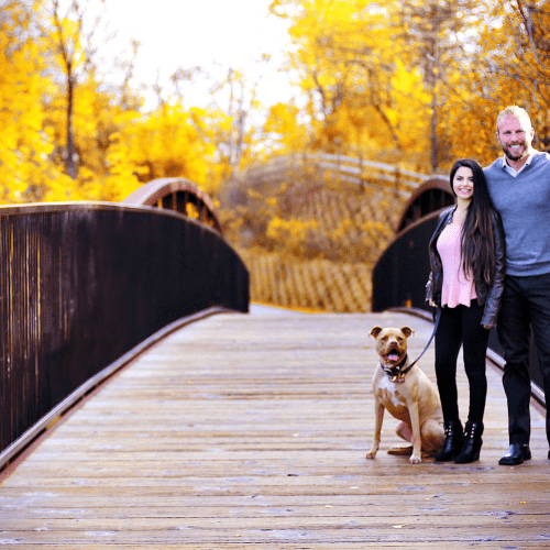 This is an image of My Fertilizing Company Owner Ryan Shiplett with his wife Mina Shiplett and their dog Olive