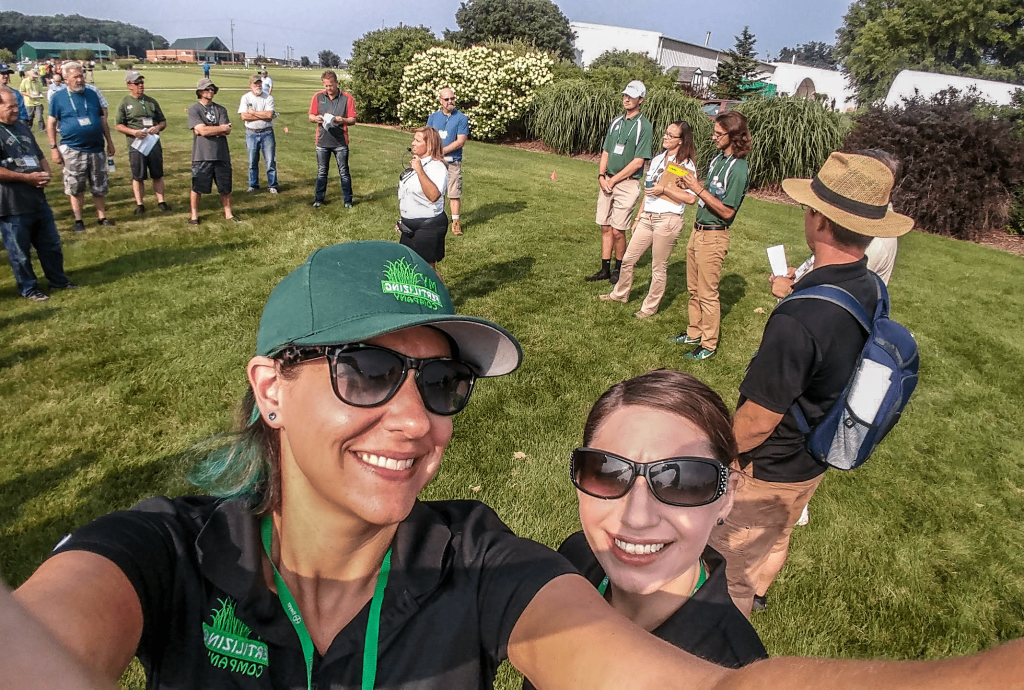 This Is A Picture Of Janina Walsh And Trisha Hoover At MSU Turf Day.