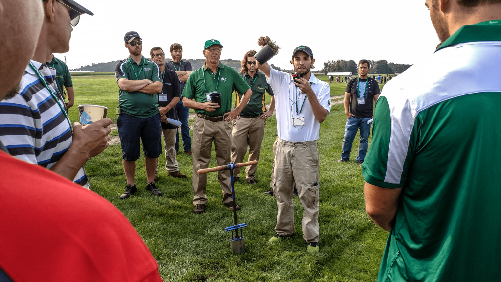 This is an image of a speaker at MSU Turf Day