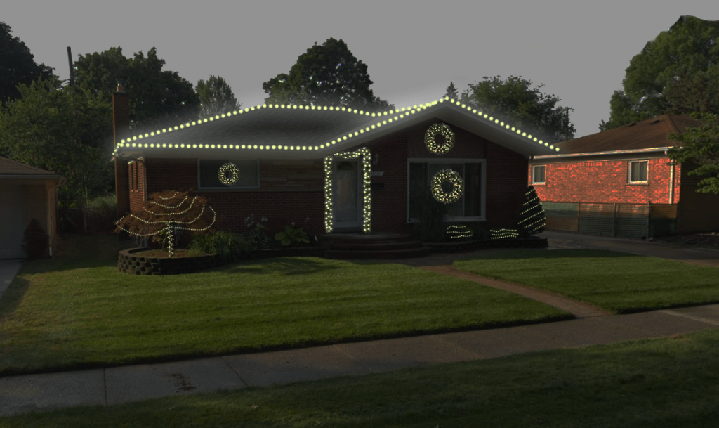 This is an image of a home with digital lights installed