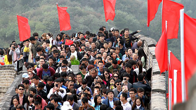 An Image Of Growbot Walking On The Great Wall Of China.