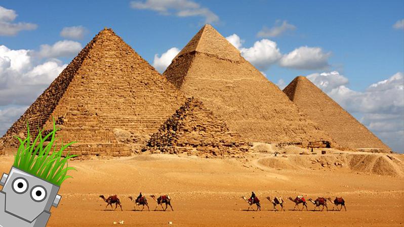An Image Of Growbot At The Great Pyramids Of Gaza