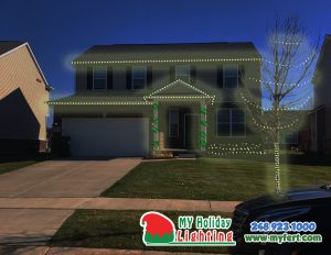 An Image Of My Fertilizing Company's Holiday Light Design In New Hudson MI