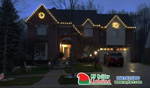 An Image Of My Fertilizing Company's Holiday Lighting Completed Job Of A Home In Novi MI