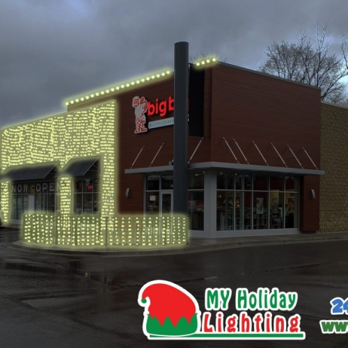 An Image of My Fertilizing Company's Holiday Light Design for Southfield Big Boy on Telegraph Rd