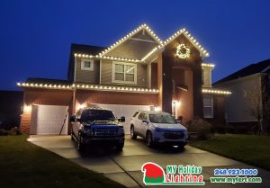 An Image Of My Fertilizing Company's Holiday Lighting Completed Job Of A Home In New Hudson's Mill River HOA