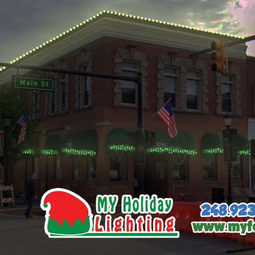 An Image of My Fertilizing Company's Holiday Light Design for Northville's Orin Jewelers