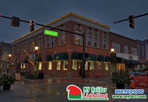 An Image Of My Fertilizing Company's Holiday Lighting Completed Job Of Downtown Northville's Orin Jewlers