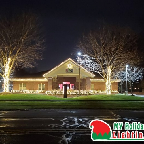 An Image of My Fertilizing Company's Holiday Lighting Completed Job of Canton's Rosie's Rompa Room