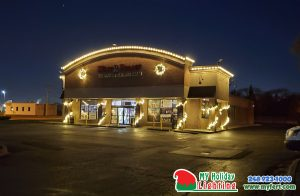 An Image Of My Fertilizing Company's Holiday Lighting Completed Job Of Livonia's Wine Palace