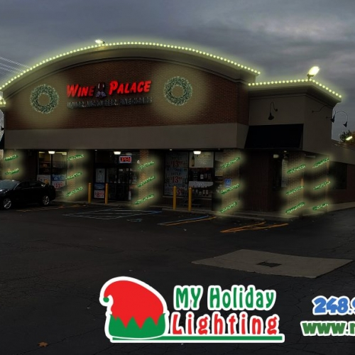 An Image of My Fertilizing Company's Holiday Light Design at the Livonia Wine Palace