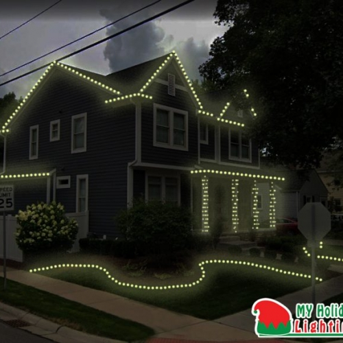 This is an image of a house My Holiday Lighting designed in Plymouth MI