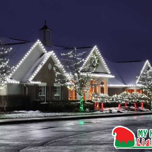 An Image of My Fertilizing Company's Holiday Lighting Completed Job of New Hudson's Mill River HOA Clubhouse